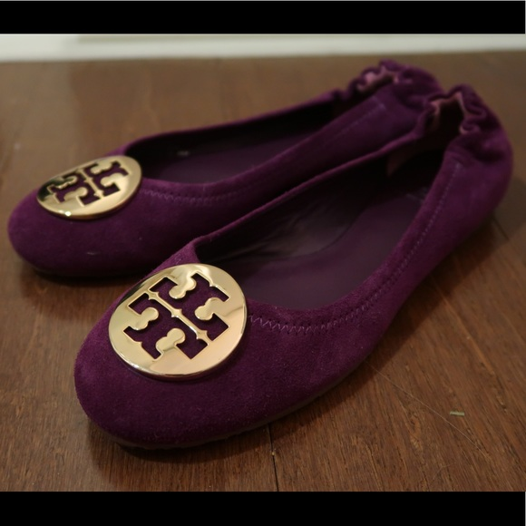 "5a0a92b1f Tory Burch size 8 purple flats ""sweet plum gold"""